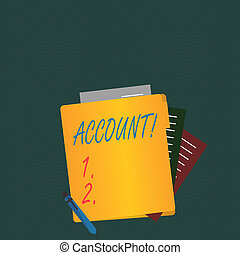 Writing note showing Account. Business photo showcasing Description Narrative Exposition History Record Log Data Financial.