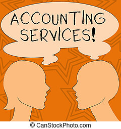 Writing note showing Accounting Services. Business photo showcasing analyze financial transactions of a business or a demonstrating Silhouette Sideview Profile of Man and Woman Thought Bubble.