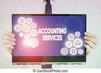 Writing note showing Accounting Services. Business photo showcasing analyze financial transactions of a business or a demonstrating.