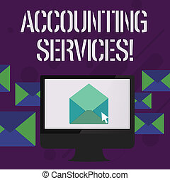 Writing note showing Accounting Services. Business photo showcasing analyze financial transactions of a business or a demonstrating Open Envelope inside Computer Letter Casing Surrounds the PC.