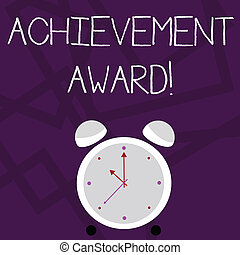 Writing note showing Achievement Award. Business photo showcasing recognizes worthy and outstanding achievement in job skill Colorful Round Analog Two Bell Alarm Desk Clock with Seconds Hand photo.