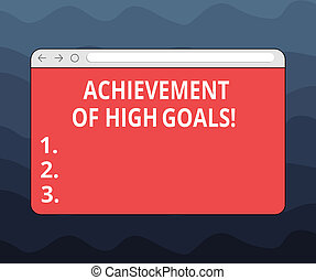 Writing note showing Achievement Of High Goals. Business photo showcasing Accomplish the most difficult objectives Monitor Screen with Progress Control Bar Blank Text Space.