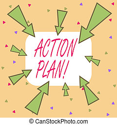 Writing note showing Action Plan. Business photo showcasing ...