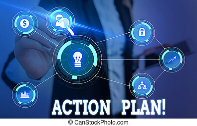 Writing note showing Action Plan. Business concept for proposed strategy or course of actions for certain time Woman wear formal work suit presenting presentation using smart device