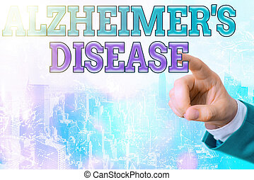 Writing note showing Alzheimers Disease. Business concept for irreversible brain disorder that slowly destroys memory