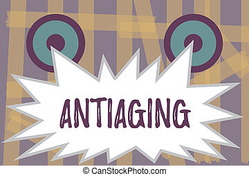 Writing note showing Antiaging. Business photo showcasing A...