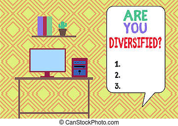 Writing note showing Are You Diversified Question. Business ...