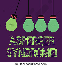 Writing note showing Asperger Syndrome. Business photo showcasing characterized as a distinct autism spectrum disorder Color Pendant Bulb Hanging with One Different Shade Lightbulb.