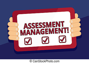 Writing note showing Assessment Management. Business photo showcasing analysisagement of investments on behalf of others Color Tablet Smartphone with Screen Handheld Back of Gadget.