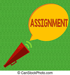 Writing note showing Assignment. Business photo showcasing...