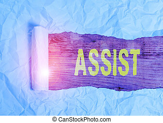 Writing note showing Assist. Business photo showcasing help ...