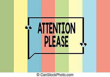 Writing note showing Attention Please. Business photo showcasing asking showing to focus their mental powers on you Seamless vertical lines background drawing lines wallpaper banner.