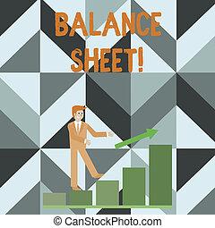 Writing note showing Balance Sheet. Business photo showcasing financial statement that report a company s is assets liabilities Smiling Businessman Climbing Bar Chart Following an Arrow Up.