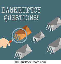 Writing note showing Bankruptcy Questions. Business photo showcasing discarding debt or making a plan to repay debts Magnifying Glass on Color Envelope and others has Same Shade.