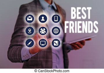 Writing note showing Best Friends. Business photo showcasing...