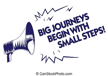 Writing note showing Big Journeys Begin With Small Steps. Business photo showcasing One step at a time to reach your goals Blue megaphone loudspeaker important message screaming speaking loud.
