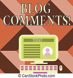 Writing note showing Blog Comments. Business photo showcasing Space at the end of each post for a reader to leave a comment Computer Mounted on Stand with Online Profile Data on Screen.