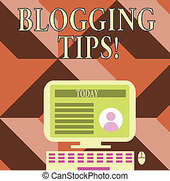 Writing note showing Blogging Tips. Business photo showcasing Ideas on how improve the discussion or informational website Computer Mounted on Stand with Online Profile Data on Screen.