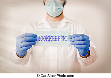 Writing note showing Bookkeeping. Business photo showcasing keeping records of the financial affairs of a business Laboratory Technician Featuring Sticker Paper Smartphone.