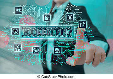 Writing note showing Bookkeeping. Business photo showcasing keeping records of the financial affairs of a business System administrator control, gear configuration settings tools concept.