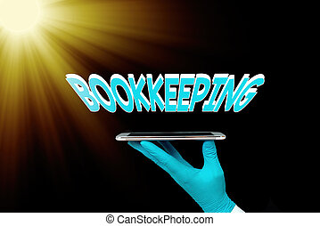Writing note showing Bookkeeping. Business photo showcasing keeping records of the financial affairs of a business Displaying Sticker Paper Accessories With Medical Gloves On.