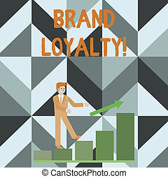 Writing note showing Brand Loyalty. Business photo showcasing Dedication to purchase the same product or service repeatedly Smiling Businessman Climbing Bar Chart Following an Arrow Up.