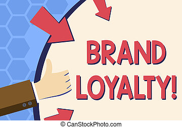 Writing note showing Brand Loyalty. Business photo showcasing Dedication to purchase the same product or service repeatedly Hand Gesturing Thumbs Up Holding on Round Shape with Arrows.