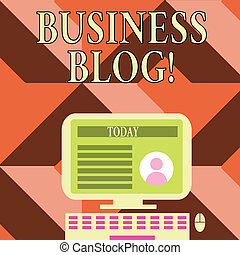Writing note showing Business Blog. Business photo showcasing Devoted to write about subject matter related to the company Computer Mounted on Stand with Online Profile Data on Screen.