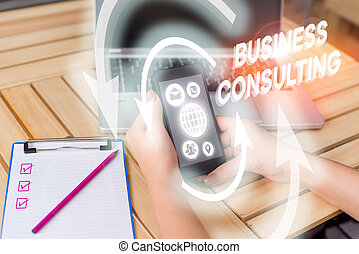 Writing note showing Business Consulting. Business photo ...
