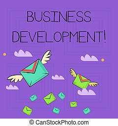 Writing note showing Business Development. Business photo showcasing pursuing strategic opportunities for a certain business Colorful Airmail Letter Envelopes and Two of Them with Wings.