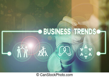 Writing note showing Business Trends. Business photo showcasing a general change in the way business is developing.