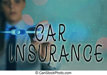 Writing note showing Car Insurance. Business photo showcasing Accidents coverage Comprehensive Policy Motor Vehicle Guaranty.