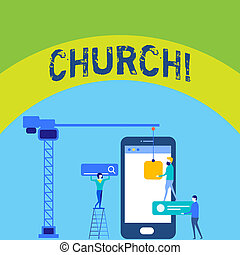 Writing note showing Church. Business photo showcasing Cathedral Altar Tower Chapel Mosque Sanctuary Shrine Synagogue Temple Staff Working Together for Common Target Goal with SEO Process Icons.