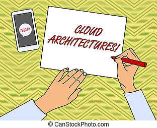Writing note showing Cloud Architectures. Business photo showcasing Various Engineered Databases Softwares Applications Top View Man Writing Paper Pen Smartphone Message Icon.