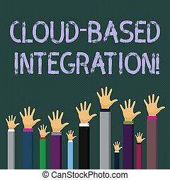 Writing note showing Cloud Based Integration. Business photo showcasing tools and technologies that connects applications Businessmen Hands Raising Up Above the Head, Palm In Front.
