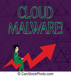 Writing note showing Cloud Malware. Business photo showcasing malicious software file or program harmful to a computer Businessman with Eyeglasses Riding Crooked Arrow Pointing Up.