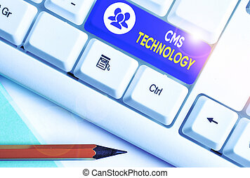Writing note showing Cms Technology. Business photo ...