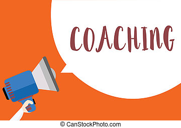 Writing note showing Coaching. Business photo showcasing person supports client in achieving specific personal goal Megaphone loudspeaker loud screaming idea talk talking speech listen.