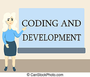 Writing note showing Coding And Development. Business photo showcasing Programming Building simple assembly Programs