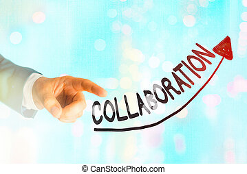 Writing note showing Collaboration. Business photo ...