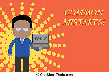 Writing note showing Common Mistakes question. Business ...