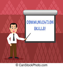 Writing note showing Communication Skills. Business photo showcasing ability to convey information to another effectively Man in Necktie Holding Stick Pointing White Screen on Wall.