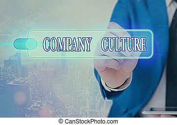 Writing note showing Company Culture. Business photo showcasing The environment and elements in which employees work.