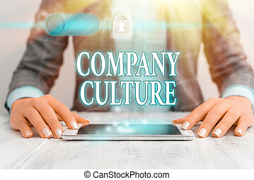 Writing note showing Company Culture. Business concept for The environment and elements in which employees work