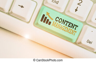 Writing note showing Content Management. Business photo ...