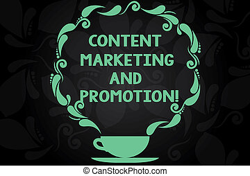 Writing note showing Content Marketing And Promotion. Business photo showcasing Online social media modern advertising Cup and Saucer with Paisley Design on Blank Watermarked Space.