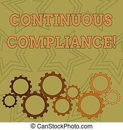 Writing note showing Continuous Compliance. Business photo showcasing proactively maintaining a safe health care environment Colorful Cog Wheel Gear Engaging, Interlocking and Tesselating.