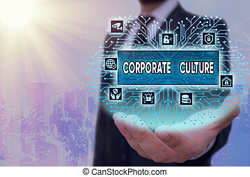 Writing note showing Corporate Culture. Business photo ...