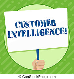 Writing note showing Customer Intelligence. Business photo showcasing process of analyzing information regarding customers Hand Holding White Placard Supported for Social Awareness.