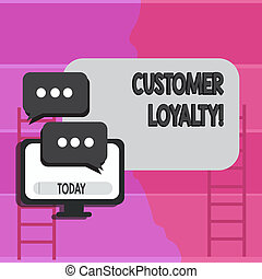 Writing note showing Customer Loyalty. Business photo showcasing Client Satisfaction LongTerm relation Confidence.